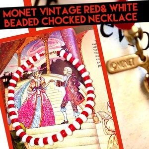 Monet vintage Red& white beaded choker Necklace🎪